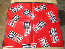 Champion spark plugs garage, car work mat, mancave- grease cover