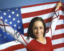 JORDYN WIEBER autographed 8x10 color photo      GREAT GYMNAST WITH US FLAG