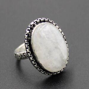 925 Silver Plated Rainbow Moonstone Handmade Ring Size 8 US Jewelry RJ176-65