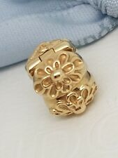 Authentic Pandora Solid 14ct Gold Large Golden Floral Gerbera Clip Charm 750806