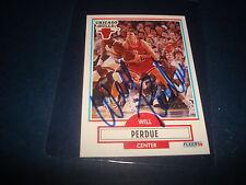 1990 NBA FLEER #29 WILL PERDUE BULLS Vanderbilt SIGNED AUTHENTIC AUTOGRAPH K
