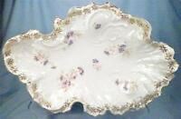 Antique Porcelain Serving Bowl Dish Bachelor Button Flowers C T Germany A Beauty