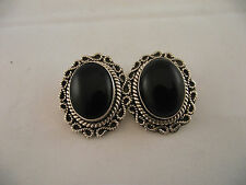 Clip-On Taxco Earrings Signed Ta 95 Vtg 925 Sterling Silver Black Onyx Cabochon