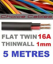 FLAT TWIN AUTO CABLE 2 CORE 1.0mm 16 AMP CAR WIRE 5m AUTOMOTIVE THINWALL 1mm