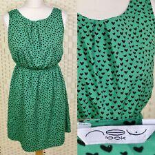 New Look Green Love Hearts Dress 10 High Waisted Sleeveless Summer Festival Boho