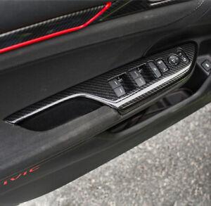For Honda Civic 2016-2021 Carbon Fiber Door Window Switch Interior Cover Trim