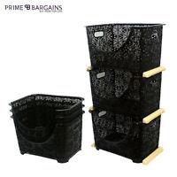 3 Tier Vegetable Fruit Rack Basket Tray Storage Stackable Kitchen Office Garage