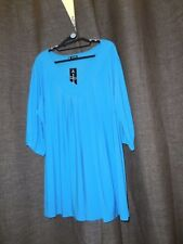 Canto BNWT Plus Size 18-22 Blue 3/4 Sleeve Jersey V-Neck Top RRP $39.95