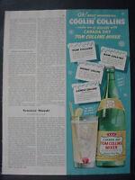 1951 Canada Dry Tom Collins Mixer Soda Beverage Vintage Print Ad 12127