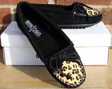 Minnetonka Women's Leopard Kilty Moc - Black Suede - 6