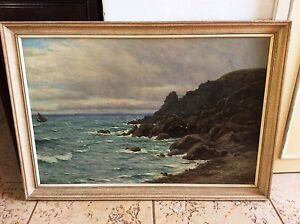 JOHN JAMES BANNATYNE, Large Oil on Canvas, Rocky Seascape with Birds , Signed
