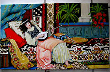 Oriental Maroc  woman playing the lute Large  Oil Painting  by M.Kilic