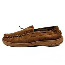Rockport Brown Leather Moccasin Slippers Mens Size 9.5 Faux Fur Rubber Sole