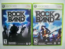 K175481 ROCK BAND 1 & 2 XBOX 360 USED 100% COMPLETE W/ CASE & INSTRUCTIONS