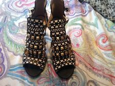 zara black white studded Sandals Heels Shoes Blogger Rare 7 40
