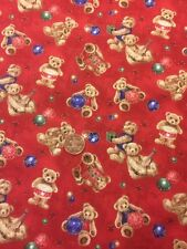 Teddy Bear Christmas Gifts Red 100% Cotton Quilting Craft fabric