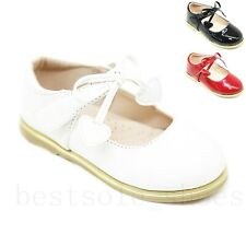 KIDS GIRLS FLAT BOW PARTY WEDDING SHINY PATENT SPANISH SCHOOL SHOES SIZE 3-UK2