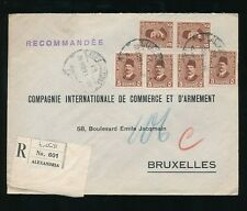 EGYPT 1929 REGISTERED to COMPAGNIE INT.DE COMMERCE ET DARMEMENT BRUSSELS