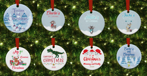 WOODEN Christmas Tree Decorations.MY 1ST PERSONALISED CHRISTMAS DECS