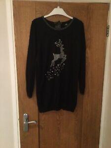 Wallis Long Black Christmas Winter Jumper Reindeer Small Excellent Used