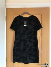 DOROTHY PERKINS Black Short Sleeve Bodycon Stretch Short Mini Dress Size 10  NEW
