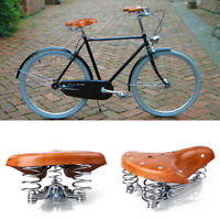 6FFA Vintage Retro Comfort Leather Classic Bicycle Bike Cycling Saddle Seat