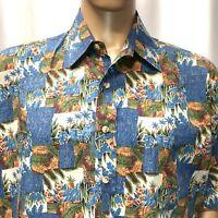 RJC Hawaiian Shirt Mens XL Tropical Graphics Palm Trees Ferns Aloha Made In USA