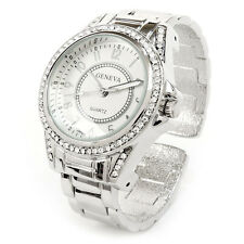 Silver Metal Band Crystal Bezel Large Face Women's Bangle Cuff Watch