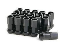 """(20) 12x1.25 Black 45mm Extended Lug Nuts (1.8"""") Tuner Racing Cone Seat Open End"""