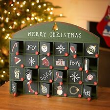Vintage Merry Christmas Countdown Advent Box~Primitive/Victorian/Calendar/Santa