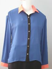 PINK MARTINI Size L Blue Sheer with White Lace Back Long Sleeve Blouse