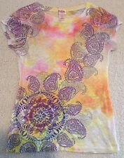 Mossimo Supply Co. Tie Die Floral Pattern T-Shirt Women's Small
