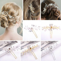 Fashion Wedding Hair Pins Bridesmaid Crystal Diamante Pearls Bridal Clips Grips