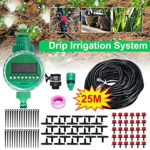 82ft Drip Irrigation System Plant Timer Self Garden Watering Hose Spray Kit USA