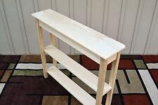 "Unfinished 36"" Narrow Console Sofa Foyer, Beveled Edge Pine Table w/2 Shelves"