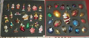 Set of 44 Hand Painted Glass Vintage Look Christmas Tree Decorations Brand New