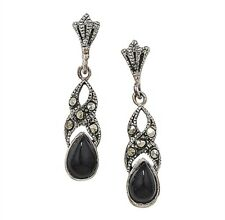 Sterling silver marcasite and onyx teardrop stud earrings Art deco style
