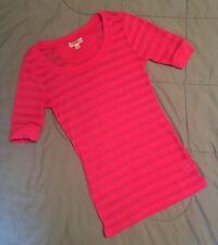 GRANE Girls BURN-OUT STRIPE T-Shirt PINK Top SZ JR Med SHORT SLEEVE Scoop Neck