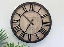 Wall Clock Round Roman Numerals Vintage Retro Style Black & Wood Effect Decor