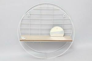 Wire Metal Round Wall Floating Shelving Storage Wood Shelf 3x Hooks Display Unit