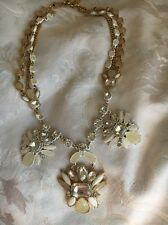 "Ann Taylor Statement Necklace Gold Peach White  22-26"" Necklace"