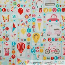 BonEful Fabric FQ Cotton Flannel Birthday Girl Balloon Bubble Gum Bike Ice Cream