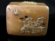 Antique Japanese snuff box, brass and copper, birds