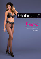 Crotchless Gabriella Amira Erotica Black Sheer Tights High Waist And Open Crotch