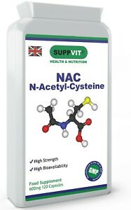 NAC N-Acetyl-Cysteine Antioxidant for Liver & Lung Function 600mg 120 Capsules