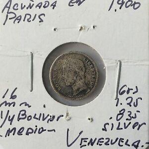 1900 Venezuela 1/4 Bolivar  Silver Coins Gram 1,250