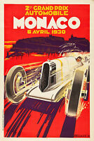 Monaco 1930 prix Vintage painting old Travel Poster red Print art  on canvas