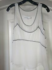 Peter Som Womens Silk Sleeveless Cream Blouse Top Black Piping Lace Size 8