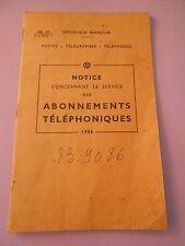PTT Notice Concernant le service des Abonnements téléphoniques 1956