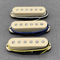 FLEOR 3PCS Cream Alnico 5 Single Coil Strat Guitar Pickup Neck + Middle + Bridge